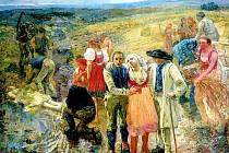 OSUDOVÝ OBRAZ. Rozměrná olejomalba Zabitý bleskem (1900-1901) zůstala nedokončena, při její tvorbě malíř spáchal sebevraždu.