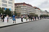 Na Václavském náměstí v centru Prahy demonstrovalo 15. srpna dopoledne několik set lidí proti dotacím do živočišného průmyslu.