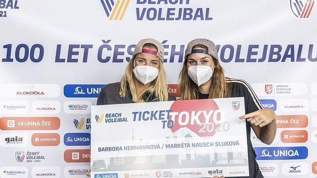 Ženské beachvolejbalové jedničky Markéta Nausch Sluková s Barborou Hermannovou.