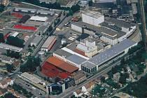 Letecký pohled na pivovar Budvar v Českých Budějovicích