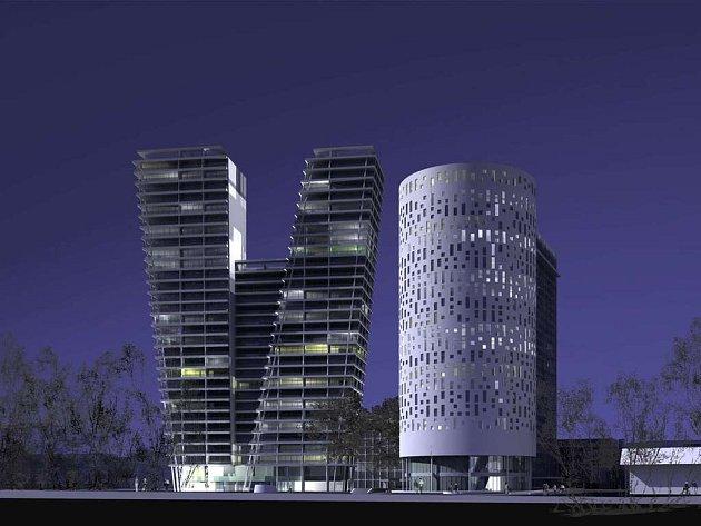Dvě výškové budovy, které by do několika let od roku 2007 měly vyrůst na pankrácké pláni.