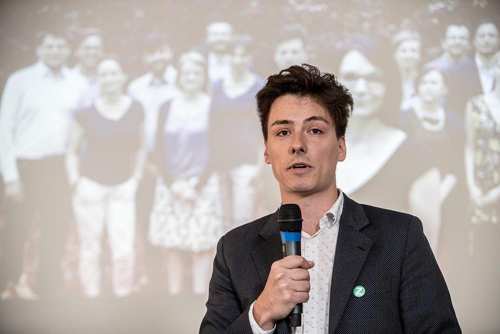 Strana zelených představila 16. června v Praze svůj program a lídry do podzimních parlamentních voleb. Na snímku předseda Matěj Stropnický.