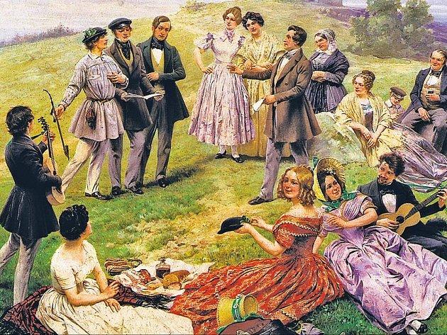 VÝLETNÍCI. Výřez z obrazu Adolfa Liebschera Výlet na Říp z roku 1902.