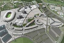 CELKOVÝ POHLED. V první fázi chce investor postavit nové výstaviště spolu s kancelářskými budovami, v druhé by přišel na řadu případný olympijský areál.