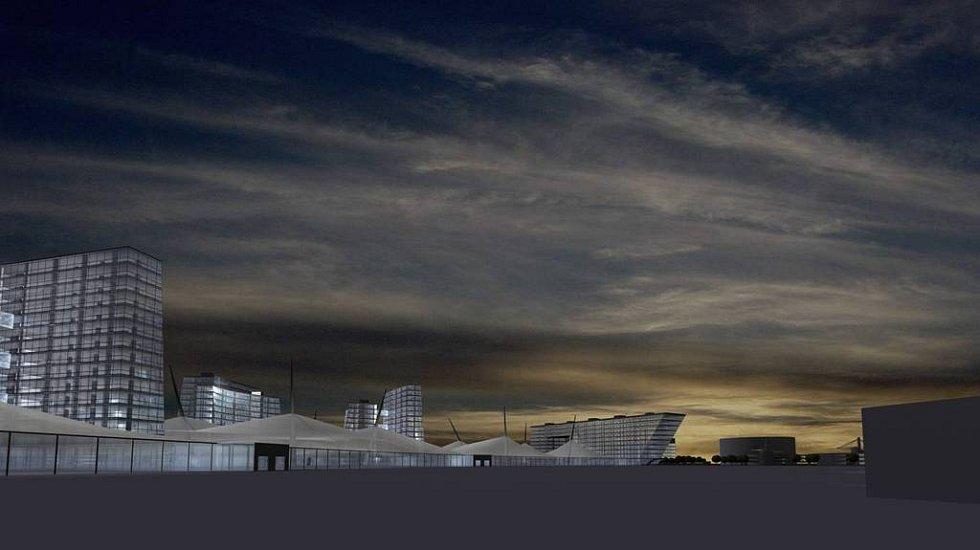 TAK BY MOHLO VYPADAT. V první fázi chce investor postavit nové výstaviště spolu s kancelářskými budovami, v druhé by přišel na řadu případný olympijský areál.