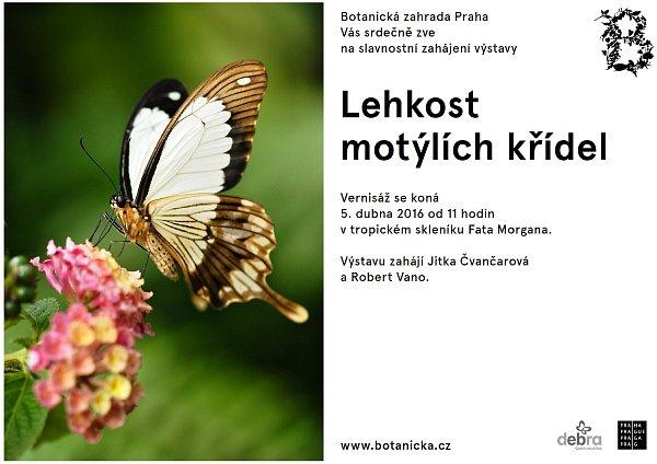 Pozvánka na slavnostní zahájení výstavy Lehkost motýlích křídel vtropickém skleníku Fata Morgana vBotanické zahradě vPraze.