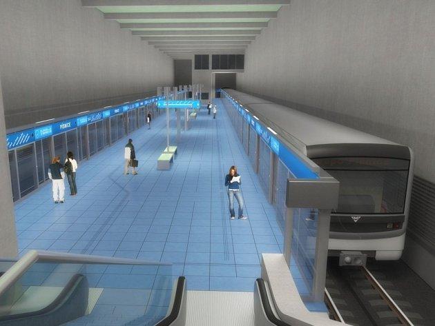 Návrh podoby stanice metra trasy D - Písnice.