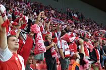 Fanoušci si v Edenu zápas maximálně užívali. Slávisté porazili Baník 4:0.