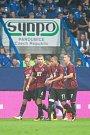 Zápas 3. kola první fotbalové ligy mezi týmy FC Slovan Liberec a AC Sparta Praha se odehrál 13. srpna na stadionu U Nisy v Liberci. Na snímku radost fotbalistů Sparty.