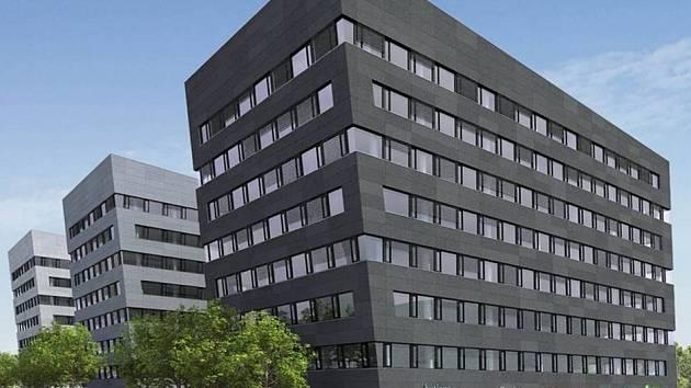 PROSEK POINT. Na křižovatce Vysočanské a Prosecké ulice vznikne do příštího roku soubor tří samostatných osmipodlažních budov v různých odstínech ocelové šedi.