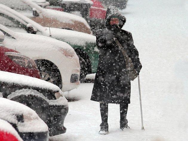 Sněhová vánice v pražských Vršovicích v pondělí 27. ledna 2014.
