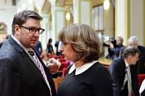Zastupitel Radomír Nepil a primátorka Adriana Krnáčová ve čtvrtek 28. dubna 2016 na jednání pražského zastupitelstva.