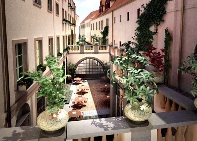 Vizualizace pětihvězdičkového hotelu, který by měl vyrůst mezi ulicemi Železná, Celetná a Kamzíkova
