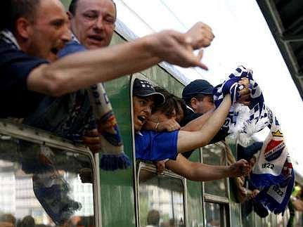 Několik set fanoušků ostravského Baníku přijelo 5. srpna 2007 vlakem do Prahy na fotbalové utkání FC Baník Ostrava - FK Bohemians.