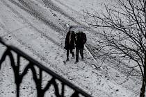 Sníh napadl 6. března v Praze. Snímek je z Karlova mostu.