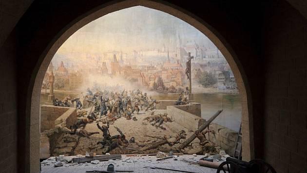 Dioráma boje Pražanů se Švédy před renovací.