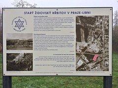 Cedule připomínající bývalý židovský hřbitov v Libni.