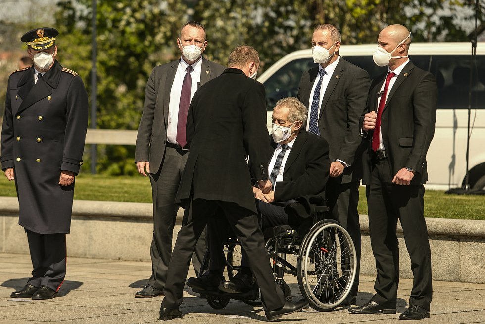 Pietní akt na Vítkově v sobotu 8. května. Prezident Miloš Zeman.
