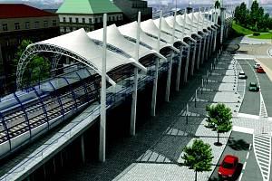 PRAHA VÝSTAVIŠTĚ – takto by měla podle vizualizace vypadat jedna ze zastávek nové rychlodráhy spojující Prahu a Kladno přes Ruzyň.