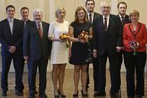 Finalistky a finalisty ankety Zlatý Ámos přijal 23. března na Hradě prezident Miloš Zeman
