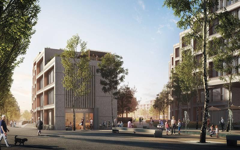 Návrh vstupu do rozsáhlého parku umístěného uprostřed jednotlivých částí projektu Rezidence nádraží Žižkov.