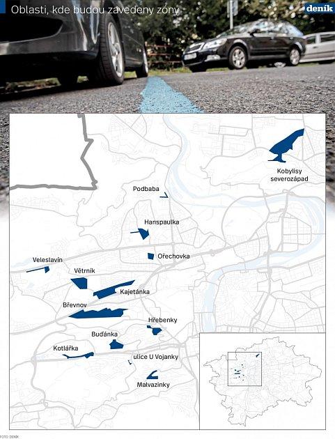 Oblasti, kde budou zavedeny zóny.