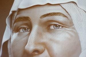 Z digitální projekce pravděpodobného portrétu sv. Ludmily v Arcibiskupském paláci v Praze.