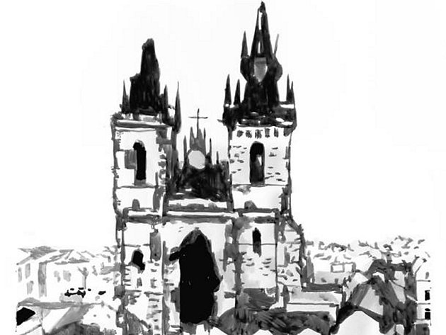 Oto Hudec. Praha den po náletu.