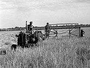 ŽNĚ NA STÁTNÍM STATKU V JINONICÍCH. Traktorista Vladimír Štrouchal s pomocnicí Martou Janerovou za pěkného počasí pokosí denně v průměru 10 hektarů.
