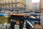 Koněvova ulice. Tříděný odpad. Ilustrační foto.