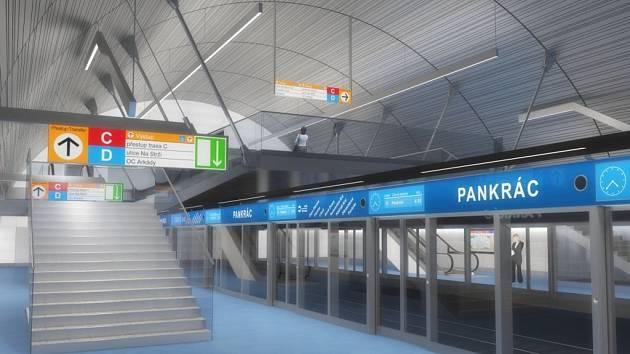 Návrh podoby stanice metra trasy D - Pankrác.
