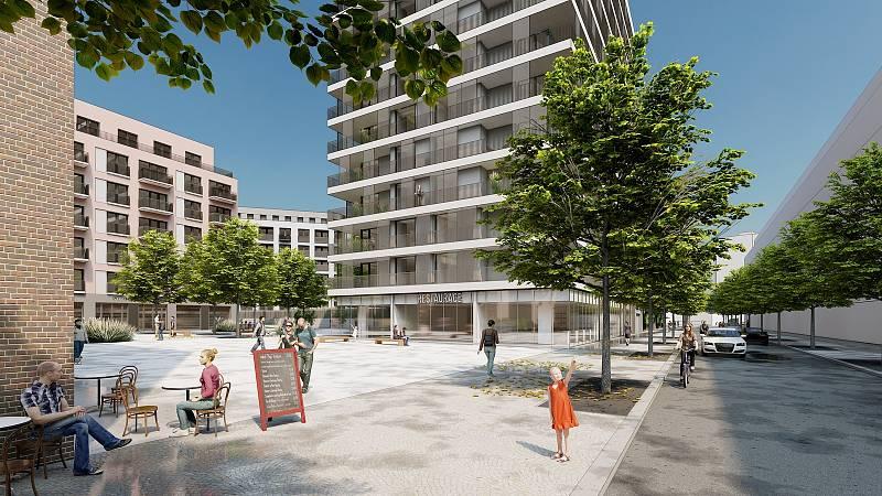 Návrh veřejného prostoru mezi budovami projektu Obytná čtvrť Jarov sever.