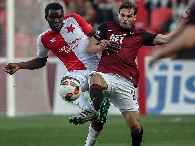 Utkání 22. kola 1. lige ePojištění.cz mezi AC Sparta Praha a SK Slavia Praha hrané 2. dubna v Praze. Matěj Pulkrab a Simon Deli.