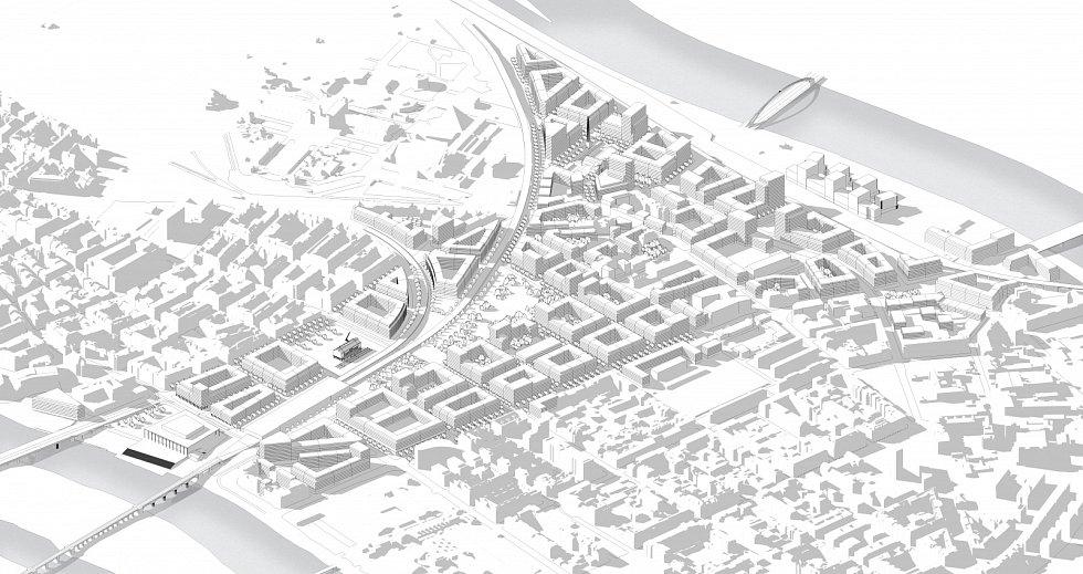 Jednoduchá modelace možné budoucí podoby nové čtvrti – pohled z jihovýchodu. U Bubenského nádraží bude umístěn Památník Ticha obětem holokaustu, který bude zasazen uprostřed nového náměstí.