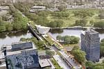 Kandidát na primátora za hnutí ANO Petr Stuchlík představil vizi Libeňského mostu s byty a parkem.