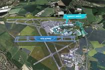 Vizualizace budoucí podoby letiště v Ruzyni. Paralelní dráha.