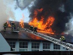 Požár zachvátil plochu o velikosti asi 300 metrů čtverečních. Bojovali s ním hasiči ze sedmi stanic