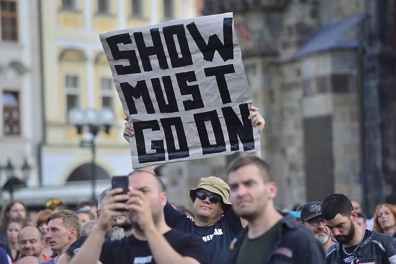 Demonstrace za živou kulturu v Praze 27. 7. 2020.