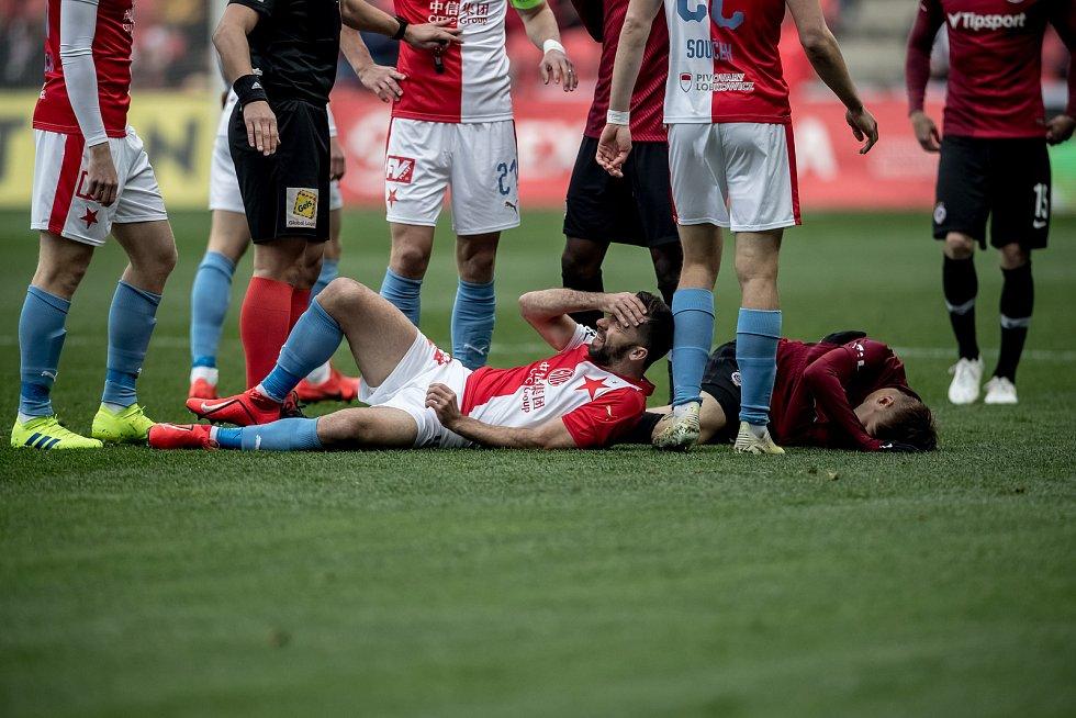 Zápas 28. kola Fortuna ligy mezi Sparta Praha a Slavia Praha, hraný 14. dubna v Praze v Sinobo stadium. Josef Hušbauer