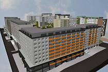 Vizualizace architektonické studie opravy panelového domu v Roháčově ulici v Praze 3.