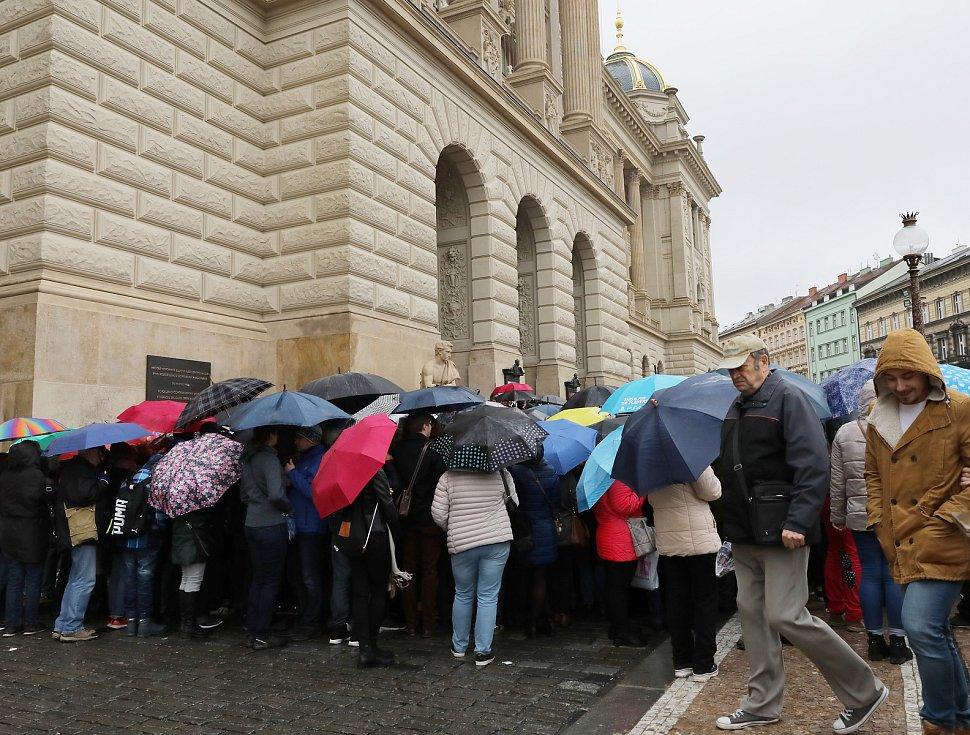 Na otevření Národního muzea se navzdory počasí stála fronta.