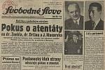 12. září 1947 vévodily titulní straně Svobodného slova zprávy o atentátu.