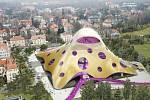 BLOB V PRAZE. Architektonické studio Future Systems Jana Kaplického představilo nové vizualizace projektu Národní knihovny. Na nich se můžete přesvědčit, jak by byla stavba viditelná z různých míst metropole. Výška budovy je na nich 47 metrů.