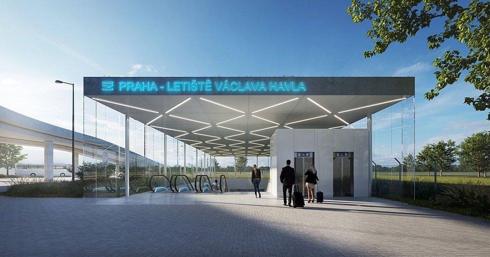 Vizualizace plánové železniční stanice na Letiště Václava Havla na dráze mezi Prahou a Kladnem.