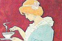 Ludvík Kuba. Čaj. Návrh na plakát, akvarel.