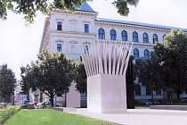 Návrh Palachova pomníku na Alšově nábřeží v Praze.