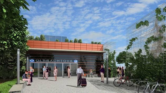 Vizualizace trasy metra D. Stanice Olbrachtova.