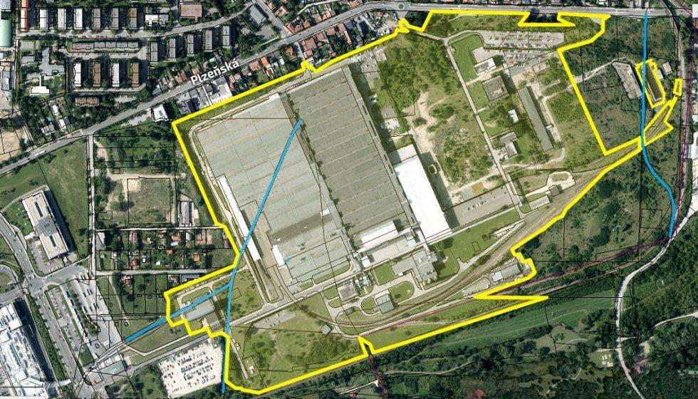 Plánek areálu po bývalé továrně Siemens.