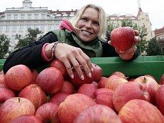 Jablečné slavnosti na farmářském tržišti na náměstí Jiřího z Poděbrad v Praze.