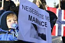 Pochod na podporu záchrany zadržovaných českých dětí v Norsku, který prošel ve čtvrtek 29. ledna 2014 v Praze od ministerstva zahraničních věcí k norskému velvyslanectví.